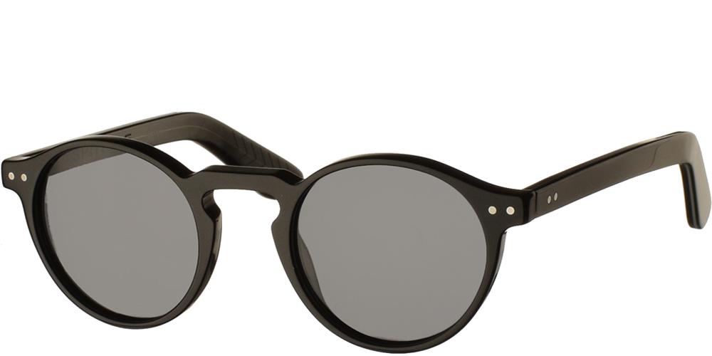 Ανδρικά και γυναικεία κοκάλινα στρογγυλά γυαλιά ηλίου Spitfire Cut Eight Black σε μαύρο χρώμα και γκρι φακούςγια μικρά και μεσαία πρόσωπα.