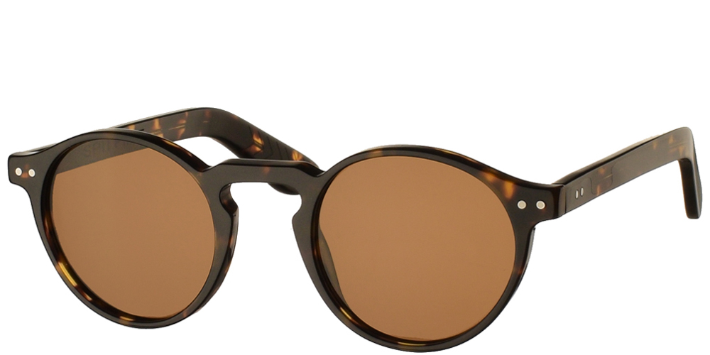 Ανδρικά και γυναικεία κοκάλινα στρογγυλά γυαλιά ηλίου Spitfire Cut Eight Tortoise σε καφέ ταρταρούγα και καφέ φακούςγια μικρά και μεσαία πρόσωπα.