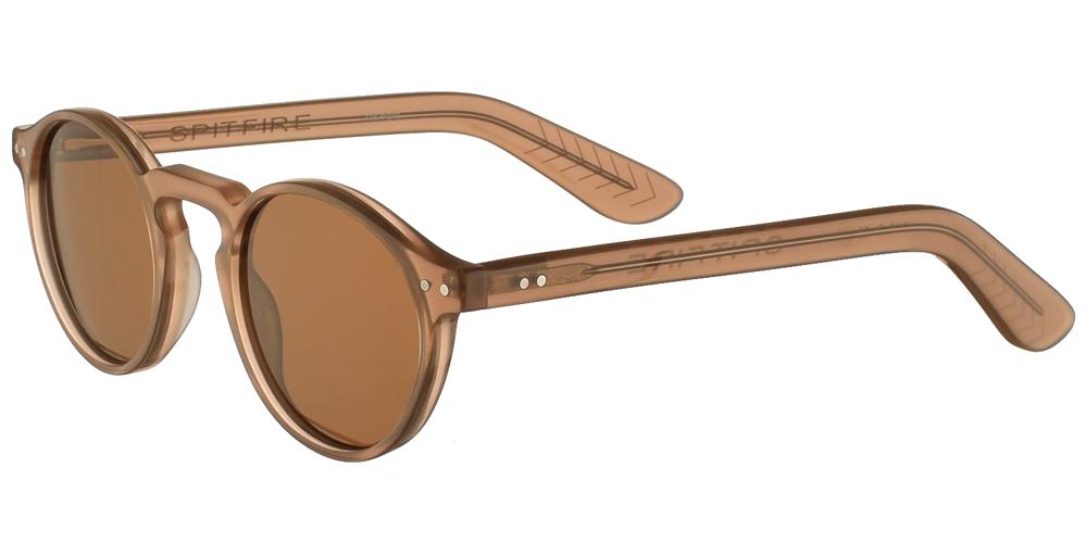Unisex κοκάλινα στρογγυλά γυαλιά ηλίου Cut Eight σε σκουρόχρωμο φυσικό μπεζ χρώμα και καφέ φακούς της εταιρίας Spitfireγια μικρά και μεσαία πρόσωπα.