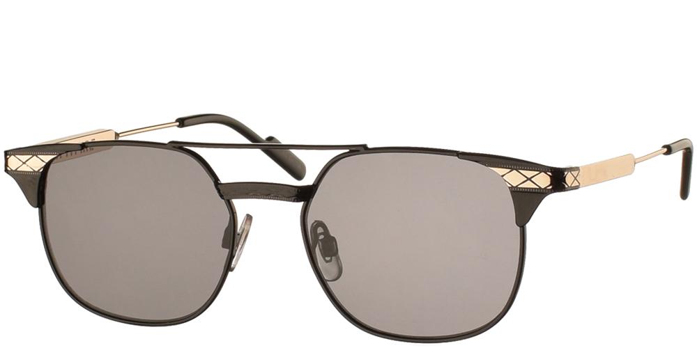 Μεταλλικά τετράγωνα ανδρικά και γυναικεία γυαλιά ηλίου Spitfire Grit Black Gold με διπλή μαύρη μεταλλική γέφυρα και επίπεδο σκούρο γκρι φακό.