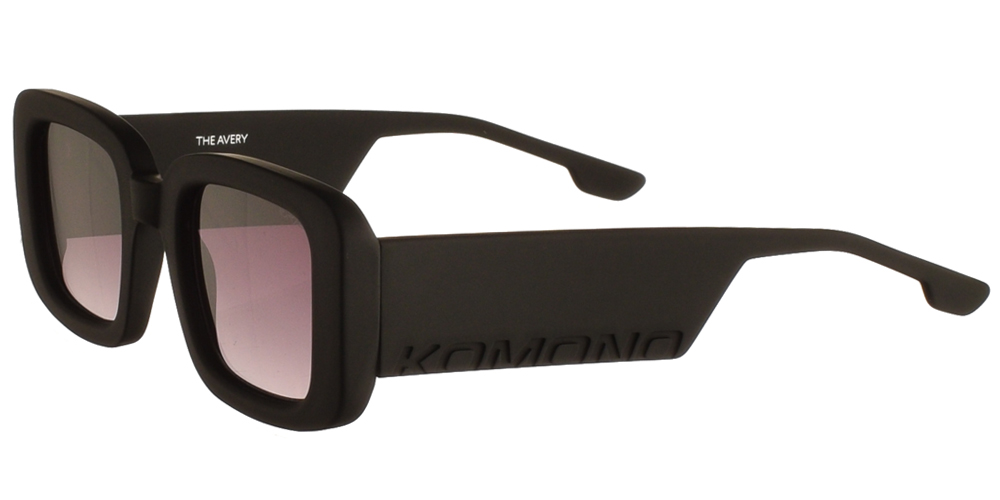 Τετράγωνα unisex κοκάλινα γυαλιά ηλίου Avery σε μαύρο matte σκελετό και γκρι ντεγκραντέ φακούς της εταιρίας Komonoγια όλα τα πρόσωπα.