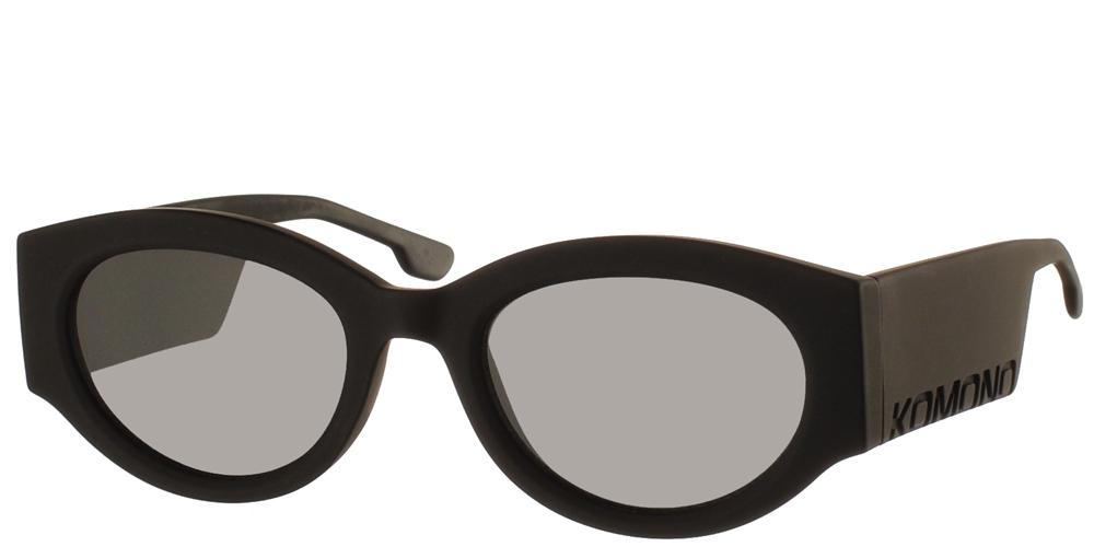 Ανδρικά και γυναικεία κοκάλινα γυαλιά ηλίου πεταλούδα Komono Dax Carbon μαύρο matte σκελετό και επίπεδους γκρι φακούςγια όλα τα πρόσωπα.