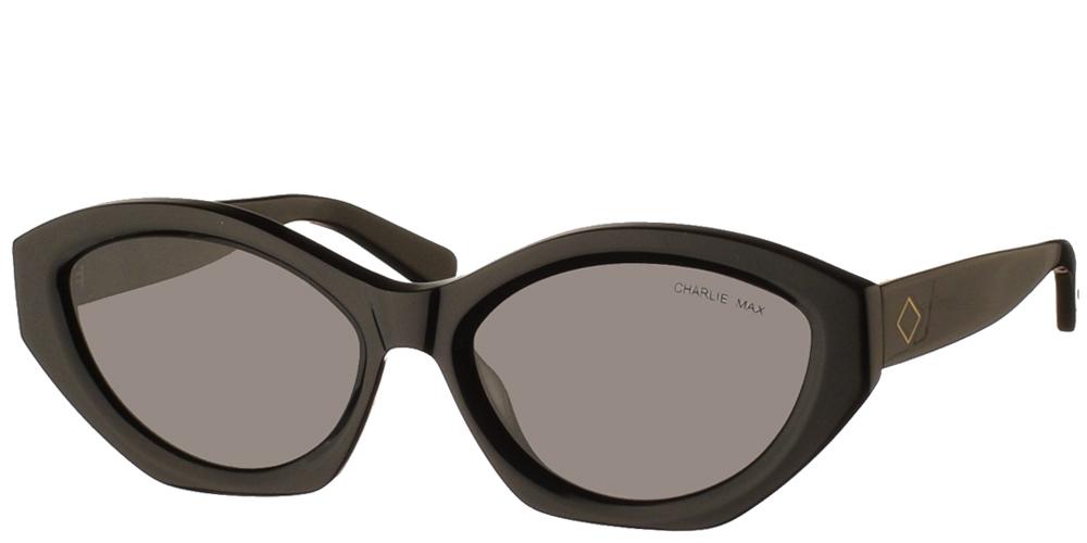 Χειροποίητα κοκάλινα γυναικεία γυαλιά ηλίου Charlie Max Gonzaga Black σε σχήμα πεταλούδα σε μαύρο σκελετό και σκούρους γκρι φακούς για όλα τα πρόσωπα.