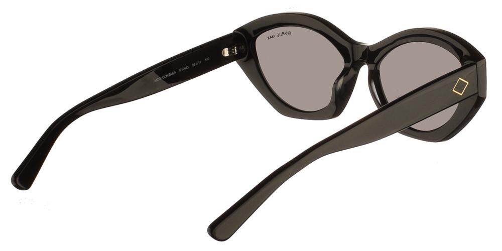 Χειροποίητα κοκάλινα γυναικεία γυαλιά ηλίου Charlie Max Gonzaga N1N43 σε σχήμα πεταλούδα σε μαύρο σκελετό και σκούρους γκρι φακούς για όλα τα πρόσωπα.