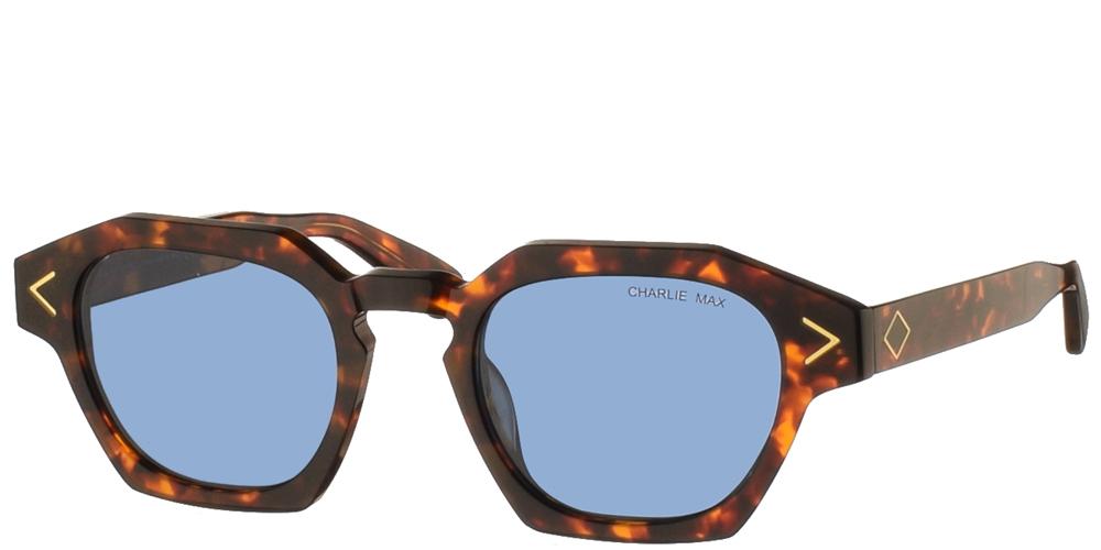 Χειροποίητα κοκάλινα unisex γυαλιά ηλίου Lambro σε καφέ ταρταρούγα και μπλε φακούς της εταιρίας Charlie Maxγια όλα τα πρόσωπα.
