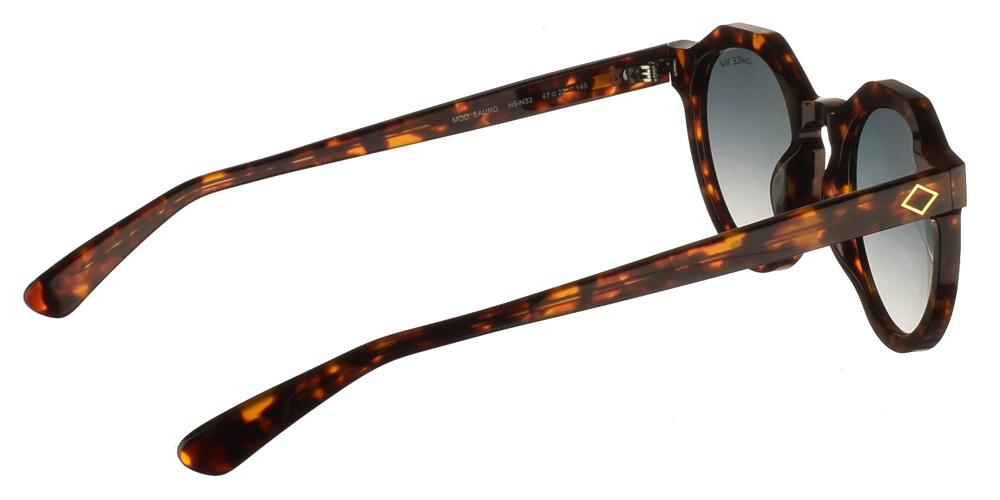 Χειροποίητα κοκάλινα ανδρικά και γυναικεία στρογγυλά γυαλιά ηλίου Charlie Max Sauro H5N33 σε καφέ ταρταρούγα και απαλούς ασημί καθρέφτες για όλα τα πρόσωπα.