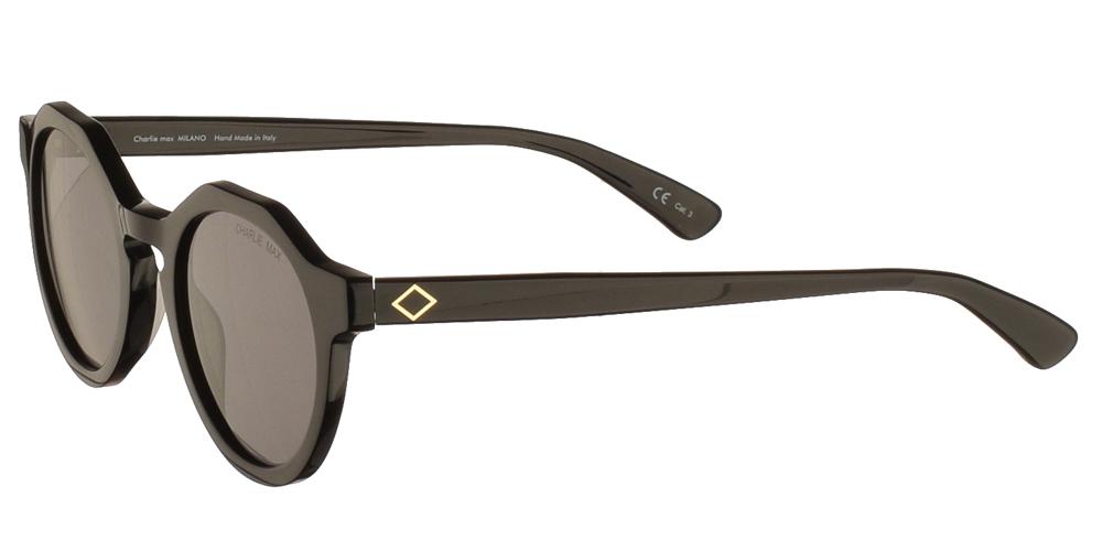 Χειροποίητα κοκάλινα unisex γυαλιά ηλίου Sauro σε μαύρο σκελετό και γκρι φακούς της εταιρίας Charlie Maxγια όλα τα πρόσωπα.