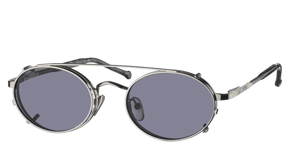 Στρογγυλά μεταλλικά ανδρικά και γυναικεία γυαλιά ηλίου Spitfire Spectrum Silver σε ασημί σκελετό και με αποσπώμενο clip on με γκρι φακούς.