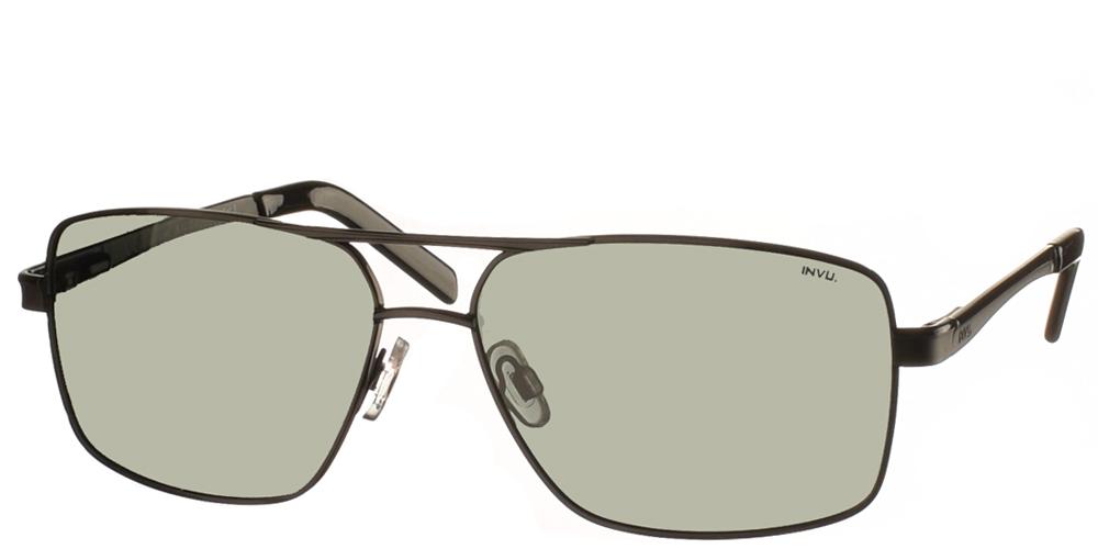 Διαχρονικά ανδρικά μεταλλικά γυαλιά ηλίου B1015 σε μαύρο σκελετό με πράσινους polarized φακούς της εταιρίας Invuγια μεσαία και μεγάλα πρόσωπα.