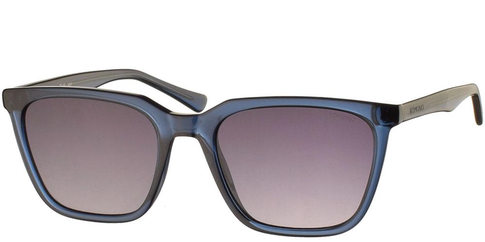 Κοκάλινα unisex γυαλιά ηλίου Jay σε μπλε σκελετό και σκούρους γκρι ντεγκραντέ φακούς της εταιρίας Komonoγια όλα τα πρόσωπα.