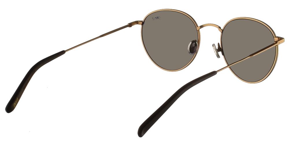 Χειροποίητα μεταλλικά στρογγυλά ανδρικά και γυναικεία γυαλιά ηλίου Gast Corporate Gold σε χρυσό χρώμα και επίπεδους γρι φακούςγια όλα τα πρόσωπα.