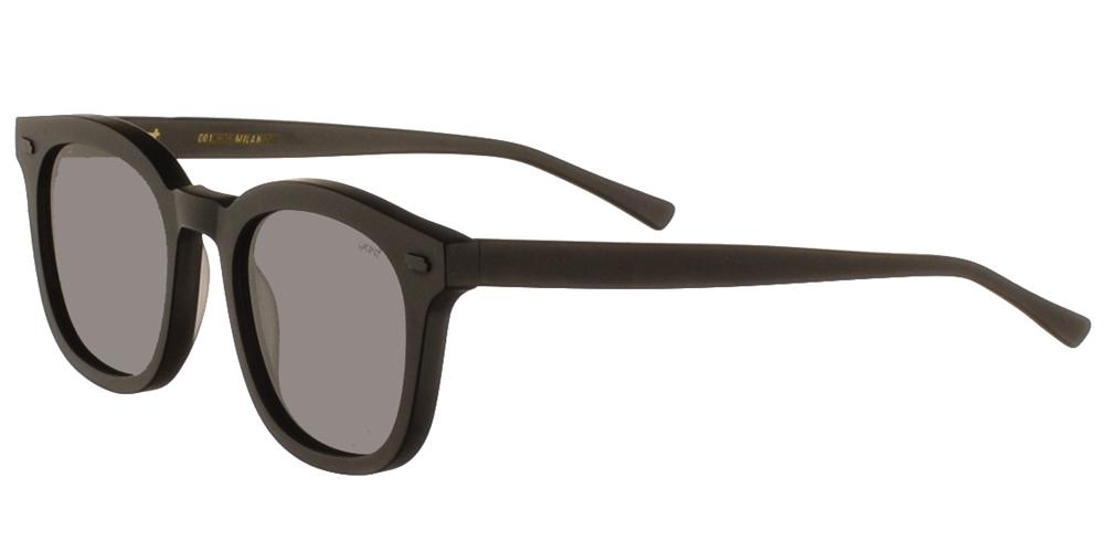 Χειροποίητα κοκάλινα τετράγωνα ανδρικά και γυναικεία γυαλιά ηλίου Gast Venti Black σε μαύρο ματ σκελετό και επίπεδους γκρι φακούς.