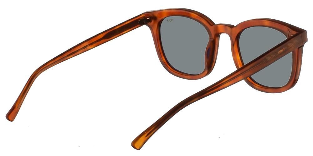 Χειροποίητα κοκάλινα τετράγωνα ανδρικά και γυναικεία γυαλιά ηλίου Gast Venti Havana σε ανοιχτόχρωμη ταρταρούγα και επίπεδους πράσινους φακούς.