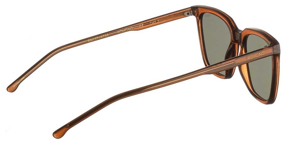 Κοκάλινα unisex γυαλιά ηλίου Jay σε καφέ μπρονζέ σκελετό και σκούρους πράσινους φακούς της εταιρίας Komonoγια όλα τα πρόσωπα.