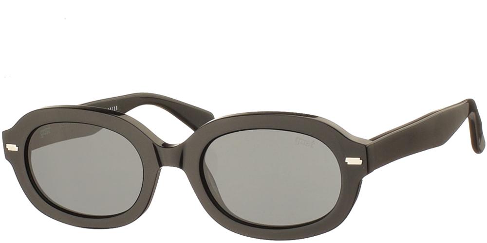 Χειροποίητα κοκάλινα unisex γυαλιά ηλίου Nsfk σε μαύρο σκελετό και επίπεδους σκούρους γκρι φακούς με εσωτερικές antireflex επιστρώσεις της εταιρίας Gast για όλα τα πρόσωπα.