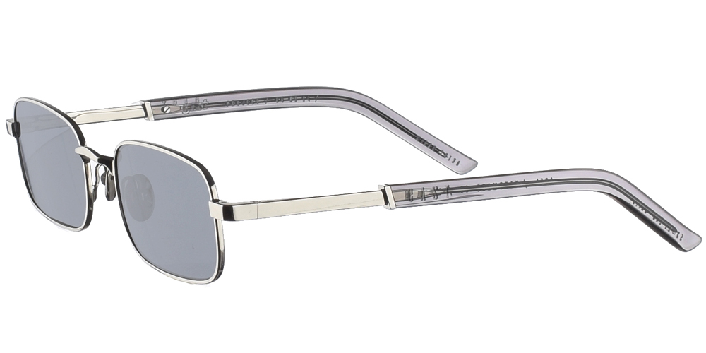 Χειροποίητα μεταλλικά unisex γυαλιά ηλίου Abel σε ασημί σκελετό και επίπεδους σκούρους γκρι φακούς με εσωτερικές antireflex επιστρώσεις της εταιρίας Gast για μεσαία και μεγάλα πρόσωπα.