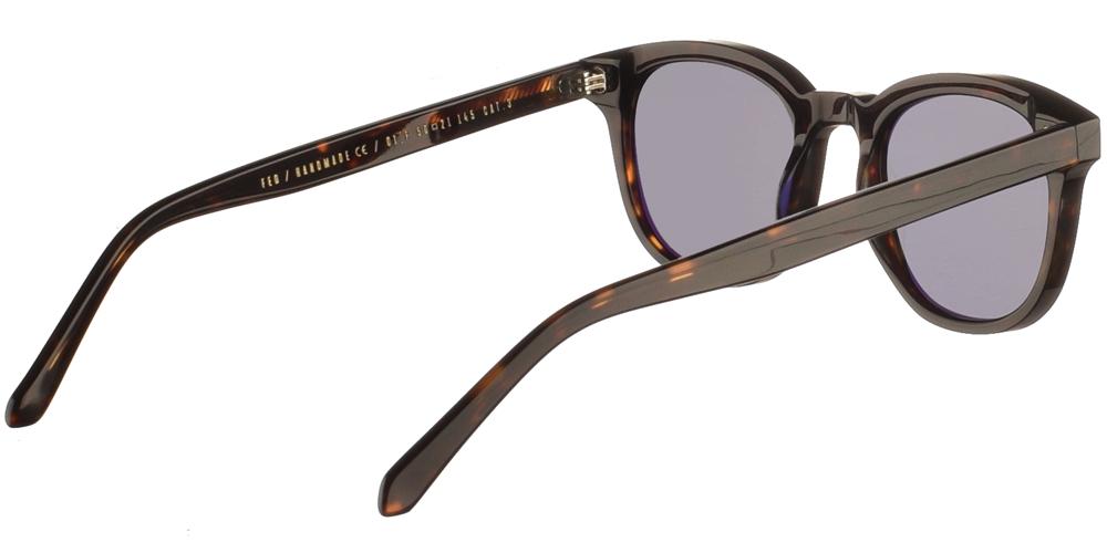 Χειροποίητα κοκάλινα unisex γυαλιά ηλίου Fed σε σκουρόχρωμη ταρταρούγα και επίπεδους σκούρους γκρι φακούς με εσωτερικές antireflex επιστρώσεις της εταιρίας Gastγια μικρά και μεσαία πρόσωπα.