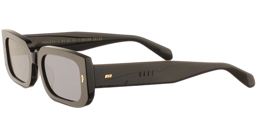 Χειροποίητα κοκάλινα unisex γυαλιά ηλίου Personalia σε μαύρο σκελετό και επίπεδους σκούρους γκρι φακούς με εσωτερικές antireflex επιστρώσεις της εταιρίας Gast για μεσαία και μεγάλα πρόσωπα.