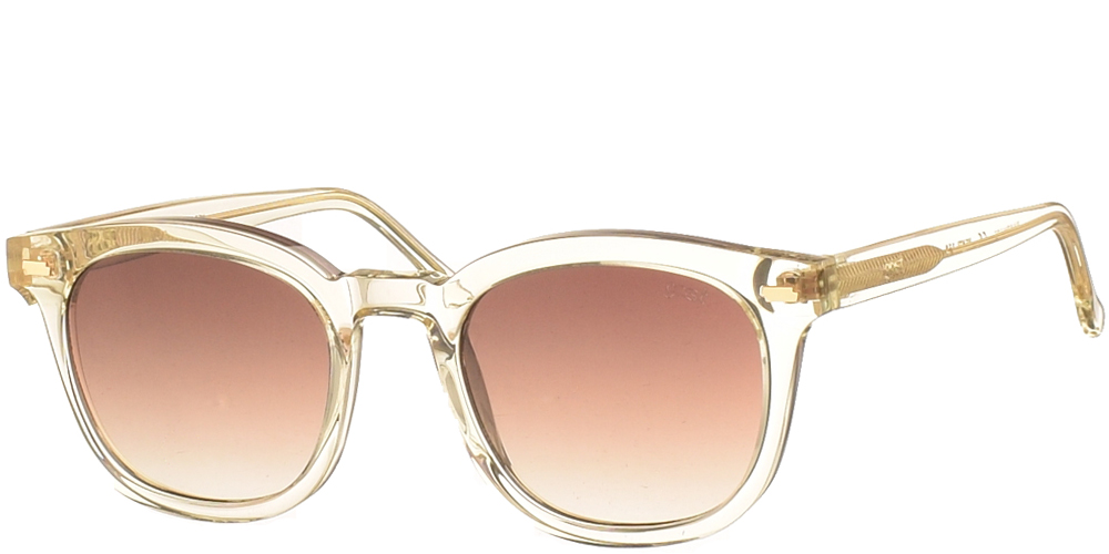 Χειροποίητα κοκάλινα unisex γυαλιά ηλίου Venti σε σαμπανιζέ σκελετό και επίπεδους καφέ ντεγκραντέ φακούς με εσωτερικές antireflex επιστρώσεις της εταιρίας Gast για μεσαία και μεγάλα πρόσωπα.