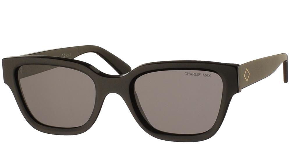 Χειροποίητα κοκάλινα unisex γυαλιά ηλίου Spartaco σε μαύρο σκελετό και γκρι φακούς της εταιρίας Charlie Maxγια όλα τα πρόσωπα.