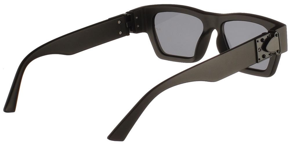 Τετράγωνα κοκάλινα unisex γυαλιά ηλίου Rock n Rolla σε μαύρο ματ σκελετό και επίπεδους σκούρους γκρι φακούς της εταιρίας Armed Robberyγια όλα τα πρόσωπα.
