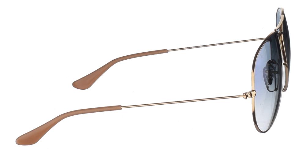 Διαχρονικά aviator γυαλιά ηλίου RB 3025 σε χρυσό μεταλλικό σκελετό και μπλε ντεγκραντέ κρυστάλλους της εταιρίαςRay Banγια μικρά και μεσαία πρόσωπα.