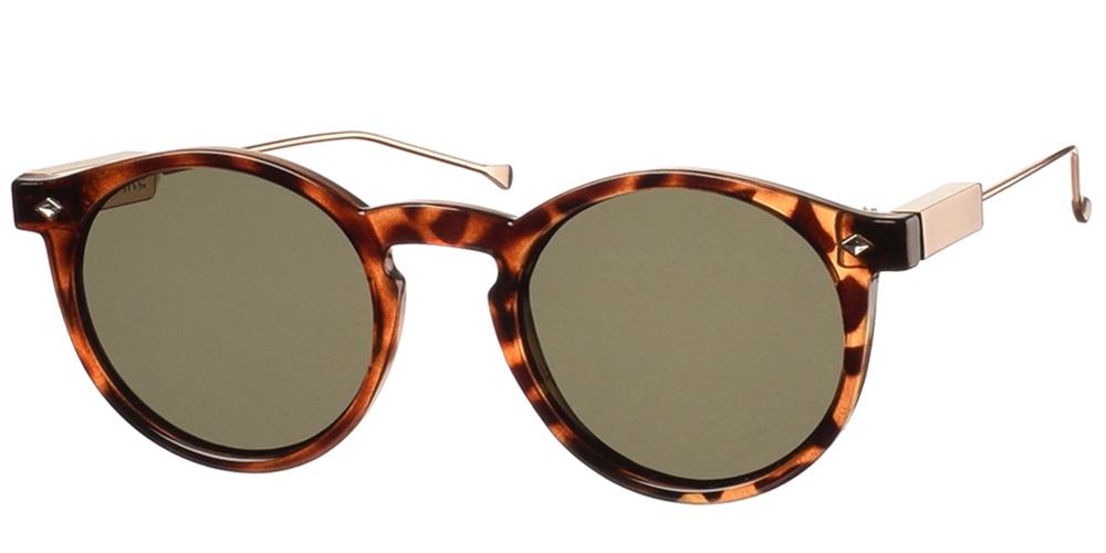 Στρογγυλά unisex κοκάλινα γυαλιά ηλίου Flex με χρυσούς μεταλλικούς βραχίονες και επίπεδους φακούς της εταιρίας Spitfireγια όλα τα πρόσωπα.