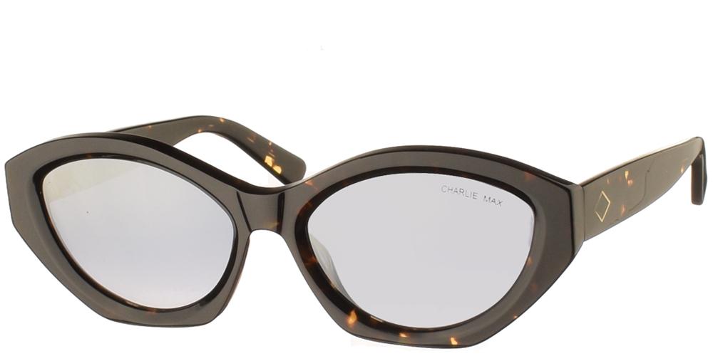 Χειροποίητα κοκάλινα γυναικεία γυαλιά ηλίου Gonzaga σε σχήμα πεταλούδα, σε καφέ ταρταρούγα και απαλούς ασημί καθρέφτες της εταιρίας Charlie Maxγια όλα τα πρόσωπα.