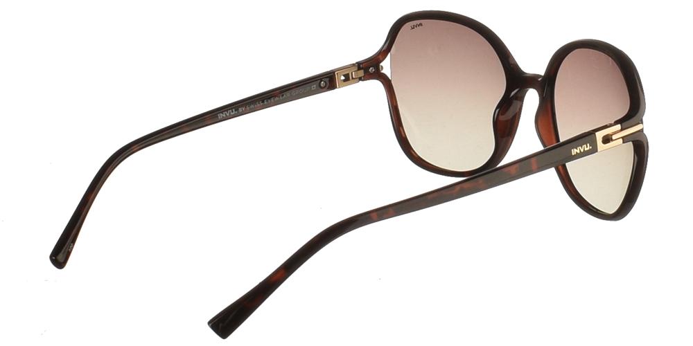 Κλασσικά κοκάλινα γυναικεία γυαλιά ηλίου B2114B σε σκούρο καφέ με καφέ ντεγκραντέ polarized φακούς της εταιρίας Invuγια μεσαία και μεγάλα πρόσωπα.