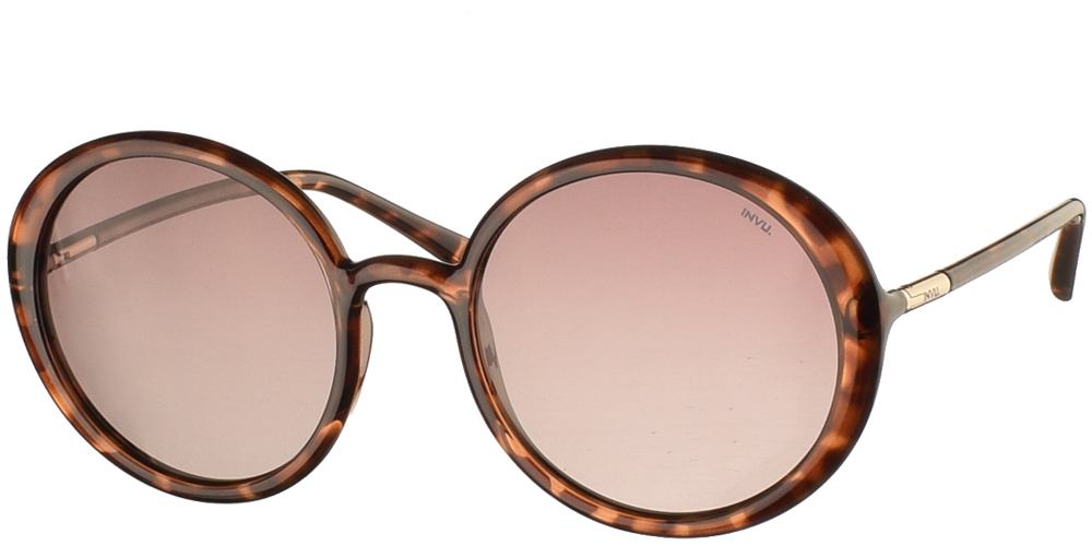 Διαχρονικά στρογγυλά κοκάλινα γυναικεία γυαλιά ηλίου B2046A σε καφέ ταρταρούγα χρώμα με καφέ ντεγκραντέ polarized φακούς της εταιρίας Invuγια όλα τα πρόσωπα.