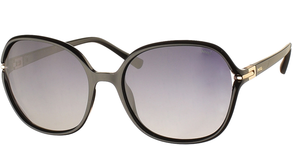 Διαχρονικά κοκάλινα γυναικεία γυαλιά ηλίου B2114 σε μαύρο σκελετό με γκρι ντεγκραντέ polarized φακούς της εταιρίας Invuγια μεσαία και μεγάλα πρόσωπα.