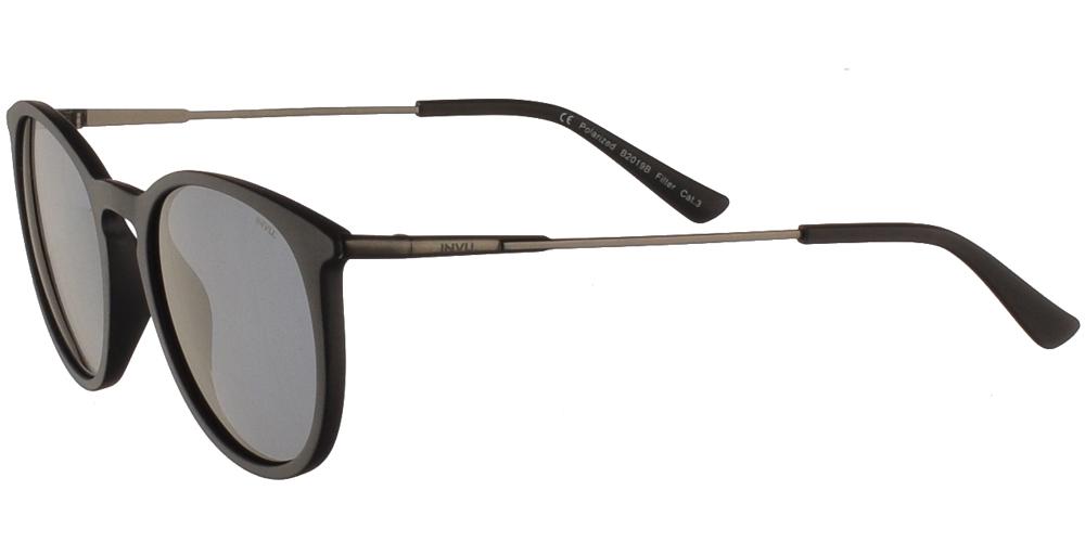 Διαχρονικά κοκάλινα ανδρικά γυαλιά ηλίου B2019 σε σκούρο μπλέ ματ σκελετό με γκρι polarized φακούς της εταιρίας Invuγια όλα τα πρόσωπα.