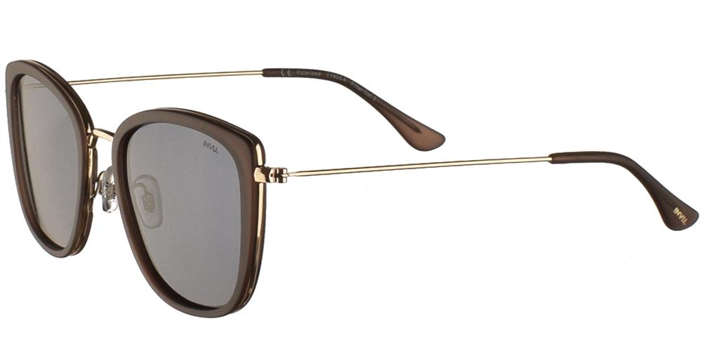 Γυναικεία κοκάλινα γυαλιά ηλίου T1905 A σε ματ καφέ χρώμα με χρυσούς λεπτομέρειες και γκρί σκούρους polazrized φακούς της εταιρίας Invuκατάλληλο για μεσαία και μεγάλα πρόσωπα.