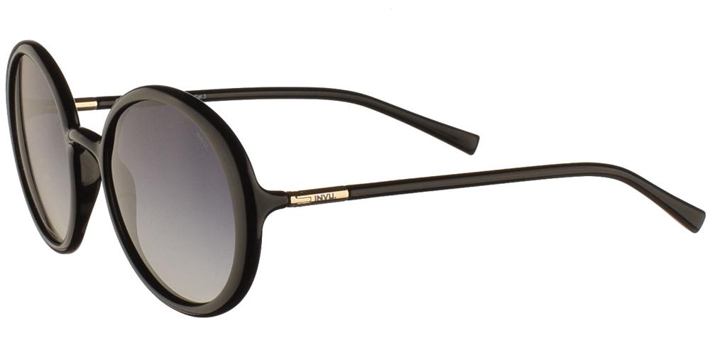 Διαχρονικά στρογγυλά κοκάλινα γυναικεία γυαλιά ηλίου B2046C σε μαύρο χρώμα με γκρι ντεγκραντέ polarized φακούς της εταιρίας Invuγια όλα τα πρόσωπα.