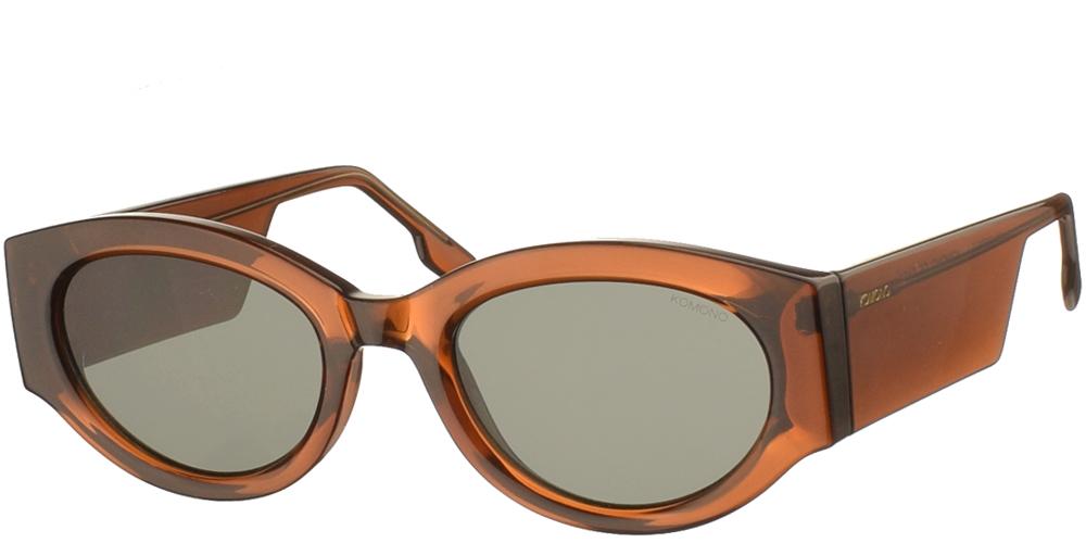 Κοκάλινα unisex γυαλιά ηλίου Dax σε καφέ μπρονζέ σκελετό και επίπεδους πράσινους φακούς της εταιρίας Komonoγια όλα τα πρόσωπα.