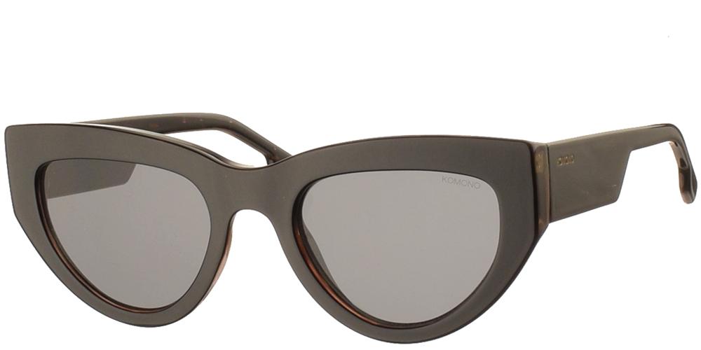 Γυναικεία κοκάλινα γυαλιά ηλίου πεταλούδα Kim σε μαύρη ταρταρούγα και σκουρόχρωμους γκρι φακούς της εταιρίας Komono για μεσαία και μεγάλα πρόσωπα.