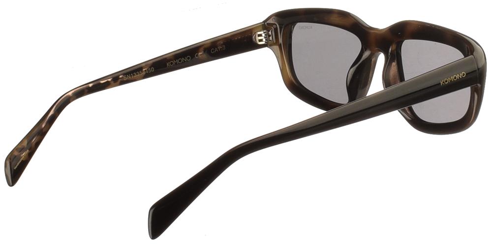Κοκάλινα unisex γυαλιά ηλίου Matt σε μαύρη ταρταρούγα και επίπεδους γκρι φακούς της εταιρίας Komonoγια μεσαία και μεγάλα πρόσωπα.