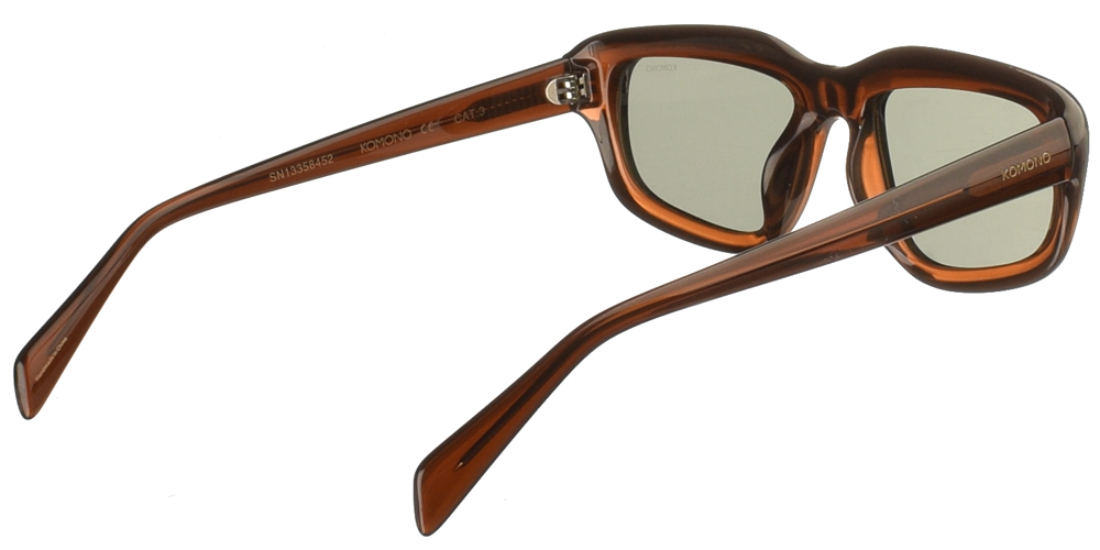 Κοκάλινα unisex γυαλιά ηλίου Matt σε καφέ μπρονζέ σκελετό και σκούρους επίπεδους πράσινους φακούς της εταιρίας Komonoγια μεσαία και μεγάλα πρόσωπα.