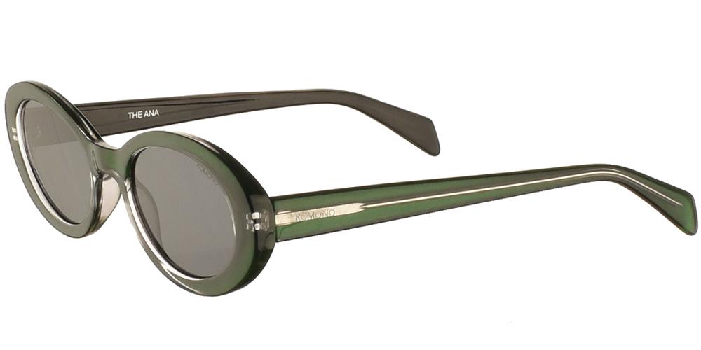 Γυναικεία κοκάλινα γυαλιά ηλίου Ana σε πράσινο σκελετό και σκούρους γκρι φακούς της εταιρίας Komonoγια μικρά και μεσαία πρόσωπα.