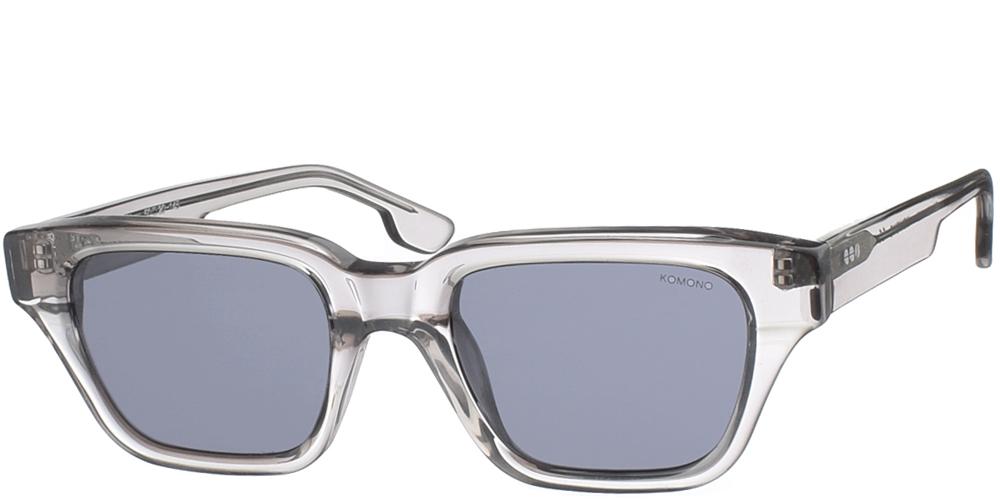 Τετράγωνα unisex γυαλιά ηλίου Brooklyn σε διαφανές γκρι κοκάλινο σκελετό και polarized σκούρους γκρι φακούς της εταιρίας Komonoγια όλα τα πρόσωπα.