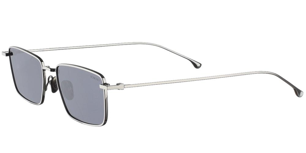 Μεταλλικά unisex τετράγωνα γυαλιά ηλίου Ian σε ασημί μεταλλικό χρώμα και σκούρους γκρι polarized φακούς της εταιρίας Komonoγια όλα τα πρόσωπα.