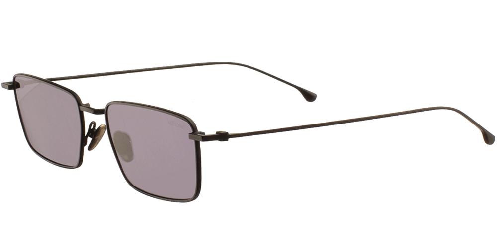 Μεταλλικά unisex τετράγωνα γυαλιά ηλίου Ian σε μαύρο μεταλλικό χρώμα και σκούρους μωβ - γκρι polarized φακούς της εταιρίας Komonoγια όλα τα πρόσωπα.