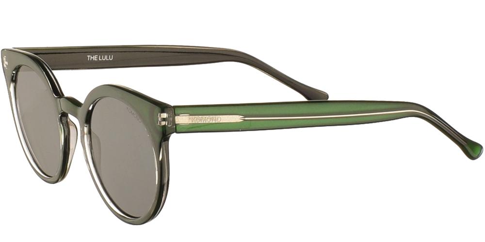 Στρογγυλά γυναικεία κοκάλινα γυαλιά ηλίου Lulu σε πράσινο σκελετό και επίπεδους σκούρους γκρι φακούς της εταιρίας Komonoγια μικρά και μεσαία πρόσωπα.