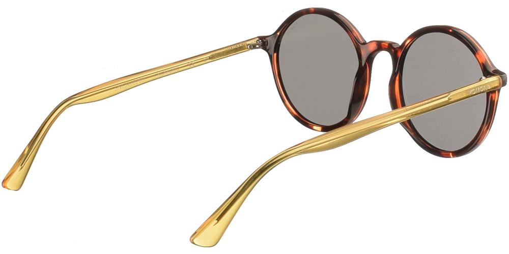 Κοκάλινα unisex στρογγυλά γυαλιά ηλίου Madison σε καφέ ταρταρούγα και σκούρους γκρι φακούς της εταιρίας Komono για όλα τα πρόσωπα.
