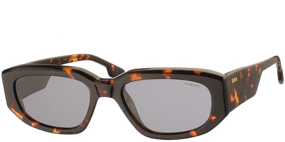 Κοκάλινα unisex γυαλιά ηλίου Rex σε καφέ ταρταρούγα και επίπεδους γκρι polarized φακούς της εταιρίας Komonoγια όλα τα πρόσωπα.