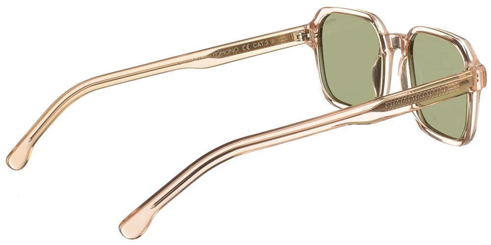 Τετράγωνα unisex γυαλιά ηλίου Romeo σε πολύ ανοιχτόχρωμο, διάφανο σαμπανιζέ σκελετό και επίπεδους πράσινους polarized φακούς της εταιρίας Komonoγια μικρά και μεσαία πρόσωπα.