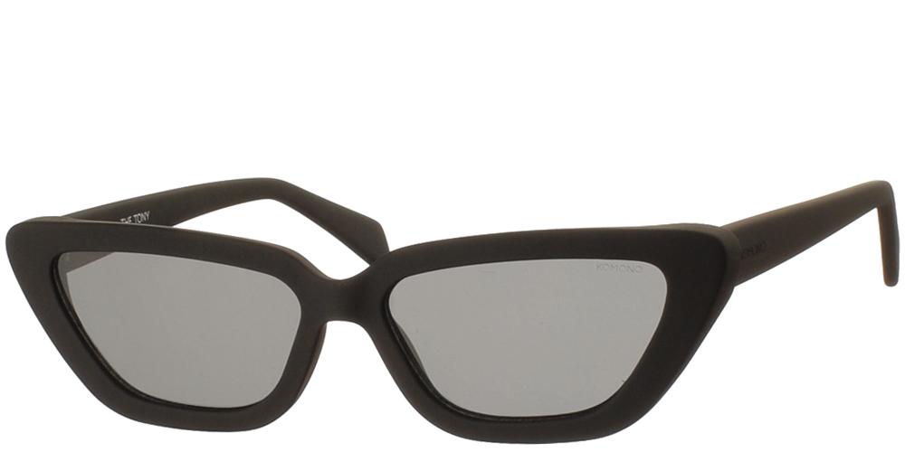 Γυναικεία κοκάλινα γυαλιά ηλίου πεταλούδα Tony σε μαύρο matte σκελετό και σκούρους γκρι φακούς της εταιρίας Komono για μεσαία και μεγάλα πρόσωπα.