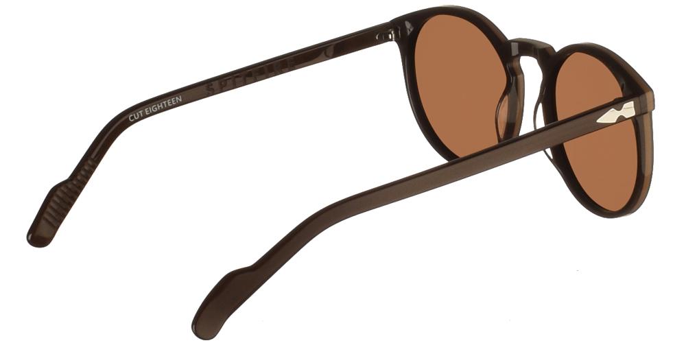 Στρογγυλά unisex κοκάλινα γυαλιά ηλίου Cut Eighteen σε σκούρο καφέ χρώμα και επίπεδους καφέ φακούς της εταιρίας Spitfireγια μεσαία και μεγάλα πρόσωπα.