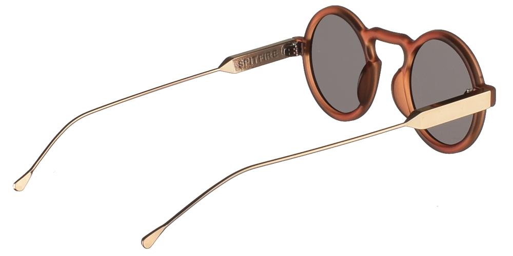 Στρογγυλά κοκάλινα unisex γυαλιά ηλίου Lennon σε καφέ ματ σκελετό, με χρυσούς μεταλλικούς βραχίονες και επίπεδους γκρι φακούς της εταιρίας Spitfire για μικρά και μεσαία πρόσωπα.