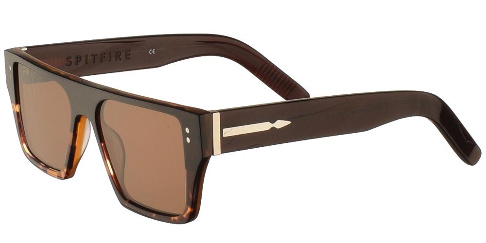 Unisex κοκάλινα γυαλιά ηλίου Cut Seventeen σε σκουρόχρωμη ταρταρούγα και επίπεδους καφέ φακούς της εταιρίας Spitfireγια μεσαία και μεγάλα πρόσωπα.